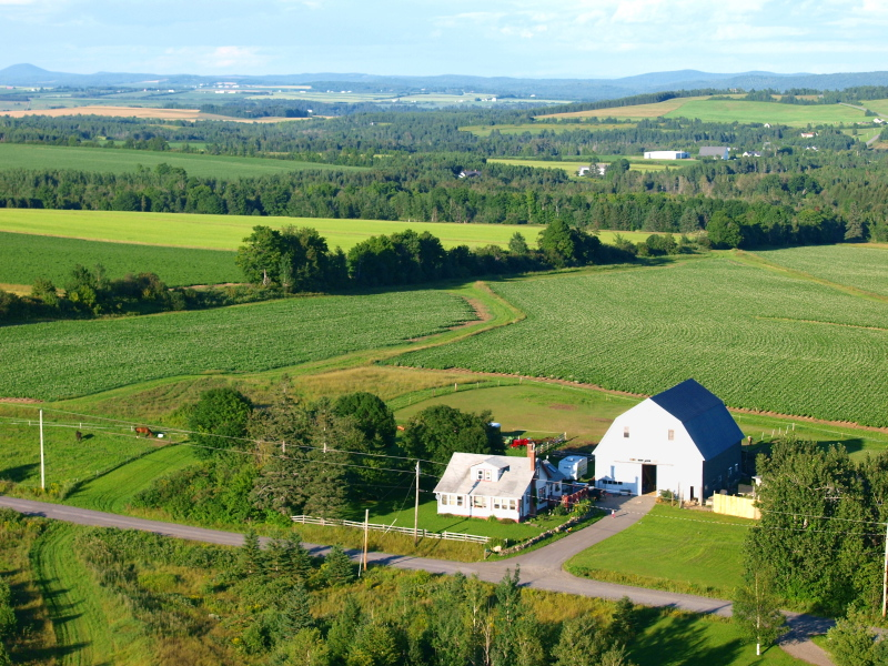 View of the Robinson Farm, home of Critter Hill Kennel in Presque Isle, Maine